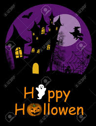 halloween background witch halloween background with haunted house bats and full moon