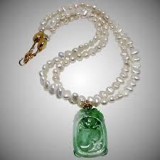 green pearls necklace images Natural chinese carved green jade bat peach with fresh water jpg