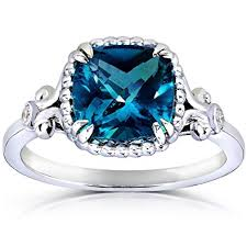 engagement rings london images Cushion cut london blue topaz and diamond engagement ring 2 1 3 jpg