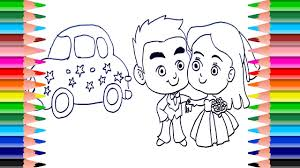bride groom coloring draw bride groom learn
