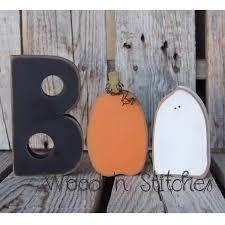 boo halloween ghost pumpkin wood block set seasonal home decor