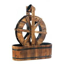 wooden water wheel outdoor lawn ornament spinning mill