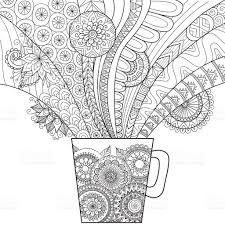 clean lines doodle art of a mug of coffee stock vector art