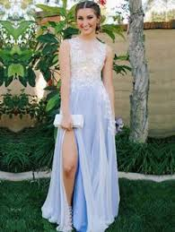 a line v neck long lace prom dress with empire waist at promgirl