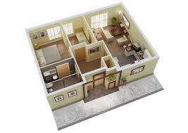 Simple House Plan With 2 Bedrooms 3d Interior Design House Plan Designs In 3d