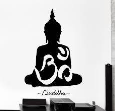 vinyl wall decal buddha buddhism om yoga meditation home decor