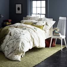 Song Bedroom Organic Sparrow Song Duvet Cover Shams West Elm