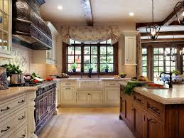french country kitchen beautiful tile backsplash large window in