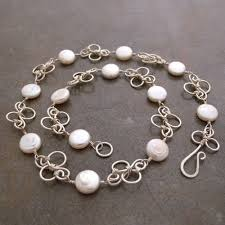 pearl sterling necklace images White coin pearl necklace with sterling silver hand forged swirl jpg
