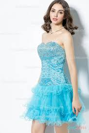 shimmering beaded strapless dropped waist aqua blue short prom