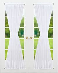 Draperies For French Doors Amazon Com Sheer Voile 72 Inch French Door Curtain Panel White