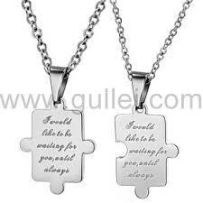 Engraved Necklaces For Couples Engravable Jigsaw Puzzle Girlfriend Boyfriend Necklaces Set For 2
