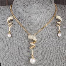 fashion jewelry pearl necklace images Minhin women 39 s classic jewelry set brilliant synthetic pearl jpg