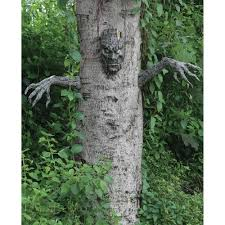 halloween decor spooky living tree prop face haunted house woods