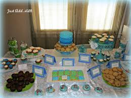just add milk baby shower desserts and table