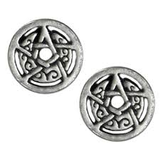 circle stud earrings silver crescent moon pentacle pentagram circle earrings studs