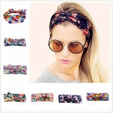 knotted headband flower print women headband elastic turban twisted knotted