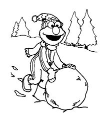 download elmo playing snow winter coloring pages kids print