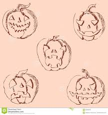 pumpkin for halloween pencil drawing by hand vintage colors