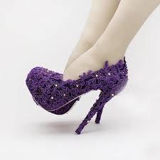 wedding shoes purple purple flower rhinestone bridal shoes high heels stiletto lace
