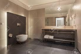 woodland hotel interior of a modern grey bathroom stock photo