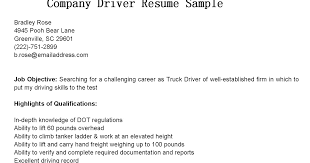 Sample Of Truck Driver Resume by Driver Resumes Company Driver Resume Sample