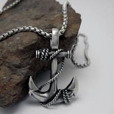 man charm necklace images Domineering personality retro fine jewelry pirate ship anchor man jpeg
