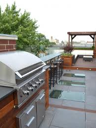 cool contemporary roof top grill kitchen design with walnut wooden