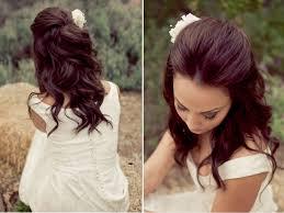 above half down wedding hairstyles flower pretty medium hair