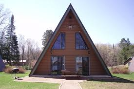 ever looked inside an a frame cabin this one has huge windows and