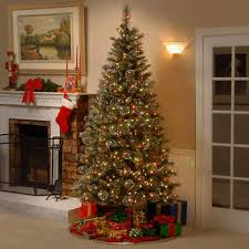 2 29 m 7 5 ft glittery bristle slim hinged tree with dual