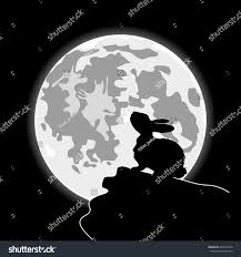 halloween background elegant rabbit front cartoon moon halloween night stock vector 404316046
