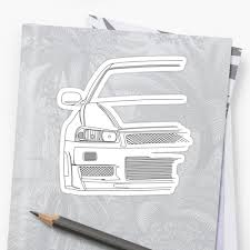 nissan skyline drawing outline r34 outline black