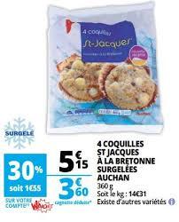 cuisiner les coquilles st jacques surgel s auchan ronq promotion 4 coquilles st jacques à la bretonne