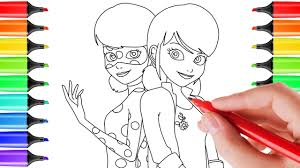 how to draw marinette u0026 ladybug for kids coloring pages art