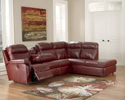 chocolate brown leather reclining sofa with chaise and arms