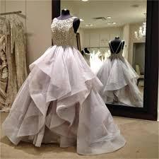 long fluffy prom dresses organza wedding dress backless prom