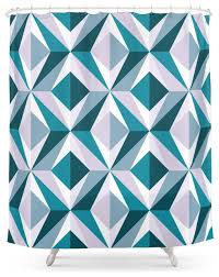 Teal Patterned Curtains Society6 The Blue Diamond Geometric Pattern Series Shower