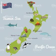 Map New Zealand New Zealand Tourist Map With Famous Landmarks Stock Vector Art