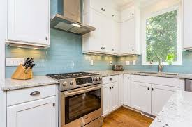 Vapor Glass Subway Tile Backsplash With White Cabinets  Counters - Backsplash with white cabinets