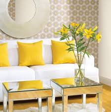 Mirrored FurnitureGreat Way To Add Some Glamour To Any Space - Yellow living room decor