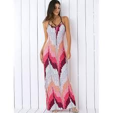 printed pattern summer long slip dress light pink m in maxi