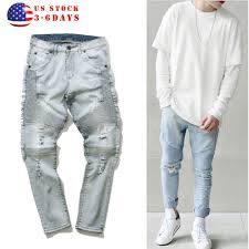 biker pants us stock men u0027s ripped skinny biker jeans destroyed frayed slim