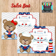 teddy bear baby shower invitations sailor bear baby shower birthday invitation you print