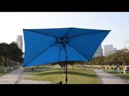 Solar Patio Umbrella Rectangular Solar Powered 22 Led Lighted Outdoor Patio Umbrella