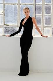 formal maxi dress one shoulder dress black dress prom