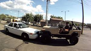 jeep police package crown vic cop car vs jeep push off youtube