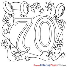 70 years balloons printable happy birthday coloring sheets