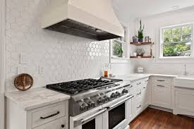 white kitchen cabinets with hexagon backsplash white hexagon kitchen backsplash mosaic backsplash kitchen