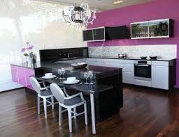 Kitchen Cabinet Table Purple Kitchen Cabinet With Black Table And Laminate Flooring